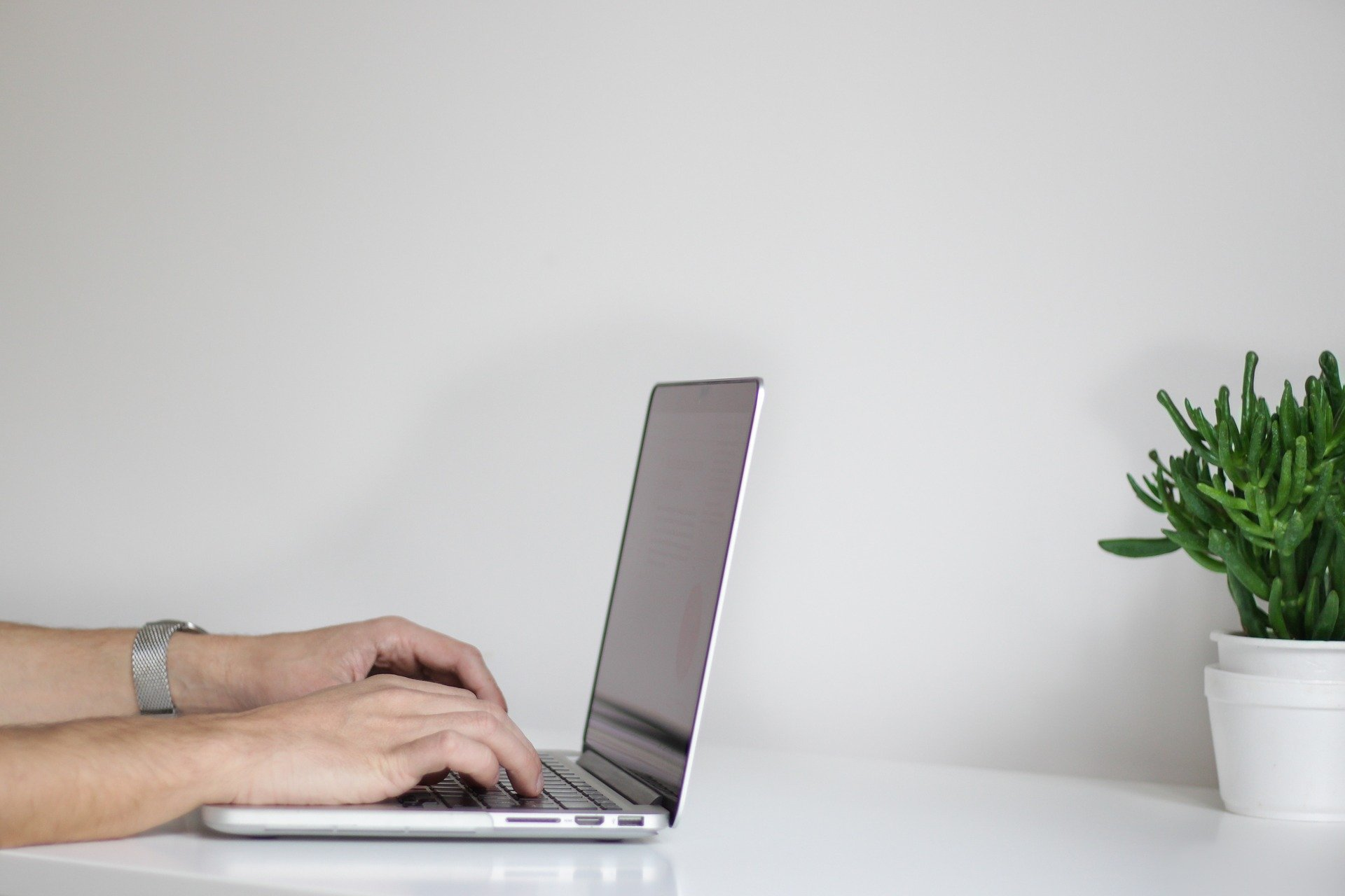 hands-computer-plant-wall-table-white